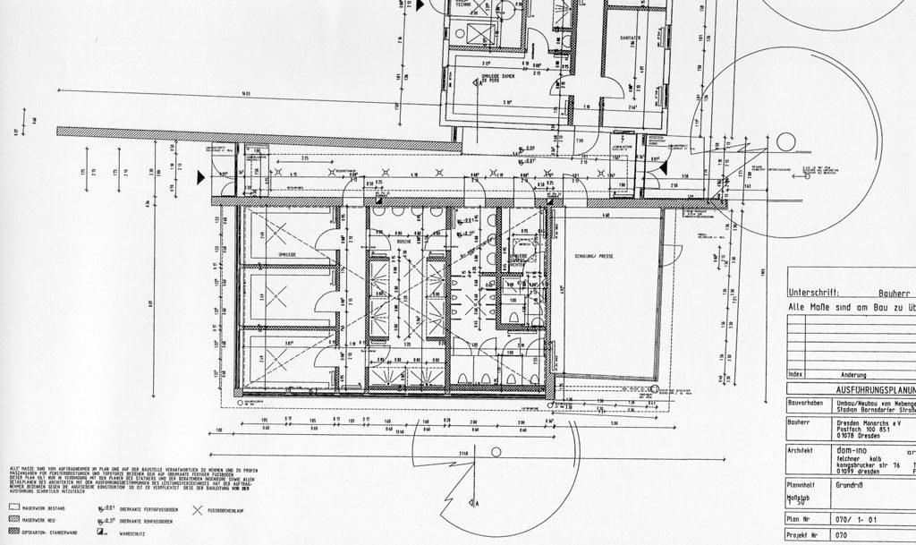 """Vereinsgebäude mit Umkleidekabinen für die """"Dresden Monarchs""""   Dresden"""